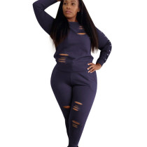 Navy Bodycon Women Scratch Pant Set with Long Sleeve OEP6076