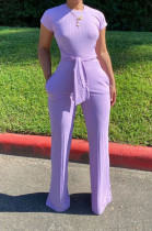Purple Casual Polyester Short Sleeve Round Neck Tie Front Tee Jumpsuit N9213
