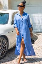 Light Blue Casual Linen Long Sleeve Buttoned Shirt Dress KZ104