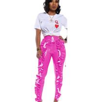 Pink All-Match Women High Waist Pu Leather Ruffle Bodycon Pants TRS993