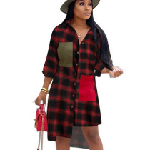 Wine Red Plaid Asymmertrical Bottom Shirt with Patched Pocket OMM1099 OMM1099