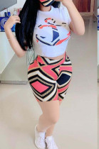 Casual Polyester Geometric Graphic Short Sleeve Round Neck Tee Top Shorts Sets OEP6195