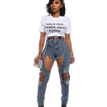 Personality Hole AcidWashes Ripped Jeans Casual Skinny Pants WY6642