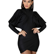 Black Bishop Criss Cross Wrap Mini Dress HY5127