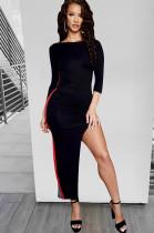 Black Bodycon Side Stripes and Slit Long Dress LS6043