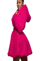 Peach Goose Feather Hoodie Coat with Self-Belted A8535