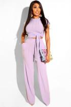 Purple Casual Plants Short Sleeve Round Neck Waist Tie Utility Blouse High Waist Long Pants Sets SN3508