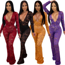 Deep V Neck See Through Lace Sexy Jumpsuits QZ6061
