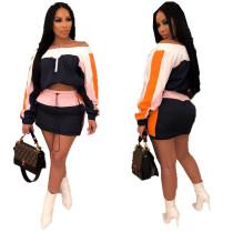 Color Block Off Shoulder Tops Mini Skirts Sets MDO9028