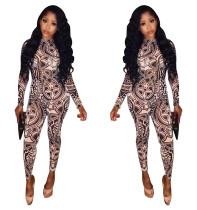 Casual Fashion Geometric Print Tight Jumpsuit W8017