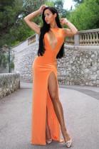 Orange Night Out Spliced Long Dress AFY8814