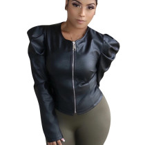 Black Mature Women Bodycon Jacket For Daily Wear QQM3891