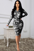Black Casual Polyester Tie Dye Long Sleeve V Neck Ruffle Mini Dress Q557