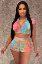 Tie Dye Plunging Neck Crop Top & Short Pants With Chain Decor SY8333