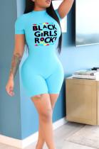 Light Blue Casual Polyester Letter Short Sleeve Round Neck Zip Back Romper ED8238