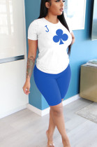 Blue Casual Polyester Short Sleeve Round Neck Tee Top Shorts Sets YYF8098