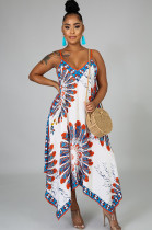 White Scarf Graphic Print Asymmertrical Hem Bell-Bottom Cami Dress CCY8432