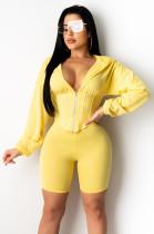 Yellow Solid Color Front Half Zipper Hoodie Top & Bodycon Short Pants YZ2138
