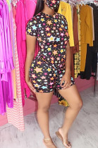 Black Casual Polyester Short Sleeve Round Neck All Over Print Tee Top Shorts Sets HHM6321