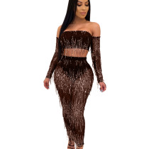 Coffee Mature Women See Through Sequined Tassel Sexy Skirt Suits QZ4089