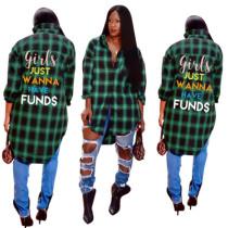 Wholesale Letters Print Plaid Women Long Shirt DN8165
