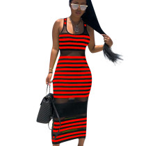 Red Striped Mesh Tank Ankle Bodycon Dress ED8093