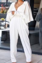 White Casual Long Sleeve Halterneck Deep V Neck Jumpsuit BS1109