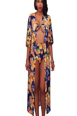 Colorfull floral print 3-piece swimsuit Q421