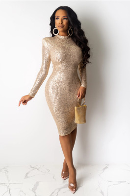 Apricot round neck sequined stripes detail bodycon ankle dress