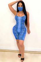 Blue Sexy Sleeveless Round Neck Cami Jumpsuit CM752