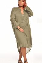 Green Casual Polyester Long Sleeve Lapel Neck Buttoned High Waist Shirt Dress SN3837