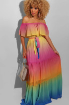 Multi Gradient Ramp Sexy Polyester Tie Dye Boat Neck Sleeveless Knotted Strap Long Dress YW0306