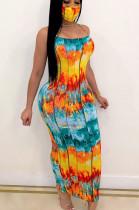 Orange Casual Polyester Tie Dye Sleeveless Spaghetti Strap Open Back Mid Waist Long Dress CCY8623