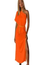 Orange asymmertcial shoudler short sleeve long dress with side slit TRS910