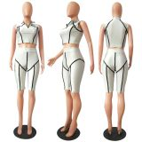 Silver Flexible Front Half Zipper Crop Top & Short Pants Set CM723