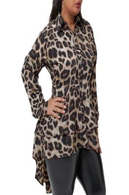 Leopard Pattern Print Buttom Up Frill Trim Shirt OMY8012