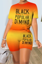 Yellow Sporty Polyester Gradient Ramp Letter Short Sleeve Round Neck Tee Top Mid Waist Shorts Sets LM1007