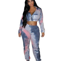 Wholesale Printing Hooded Sets Zipper Crop Coat Women Pants Q396