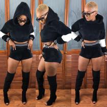 Winter Black Suits Long Sleeve Hoodie Bodycon Shorts U7062