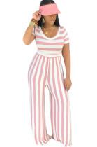 Two Tones Round Neck Pink Stripes Jumpsuit E8395-2