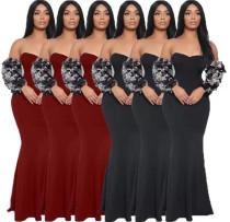 Elegant Strapless Solid Sequins Sleeves Long Dress LA3058