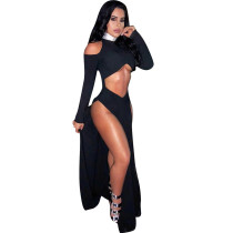 Black Long Hollow Out Club Dress LM945