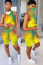 Multi Color Tied-dye Shirt Crop Top & Shorts Sets QQM4019