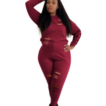 Red Bodycon Women Scratch Pant Set with Long Sleeve OEP6076
