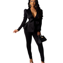 Black Office Ladies Hot Sets Ruffle V Neck Tied Top Solid Color Pencil Pants SDD9203