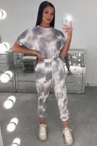 Gray Sporty Tie Dye Short Sleeve Round Neck Drawstring Waist Tee Top Harem/Genie Pants Sets AMM8240