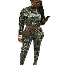 Camouflage Green Long Sleeve Pant Set Showing Belly Button F8063