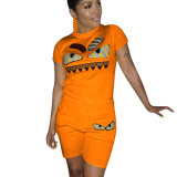 Orange Casual Fashion Cartoon Print Plus Size 3XL Sports Outfits H1139