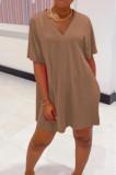 Orange Casual Polyester Short Sleeve V Neck Split Hem Tee Top Shorts Sets WY6678