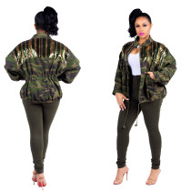 Camouflage Army Green Elestic Sequins Jackets SMR9041